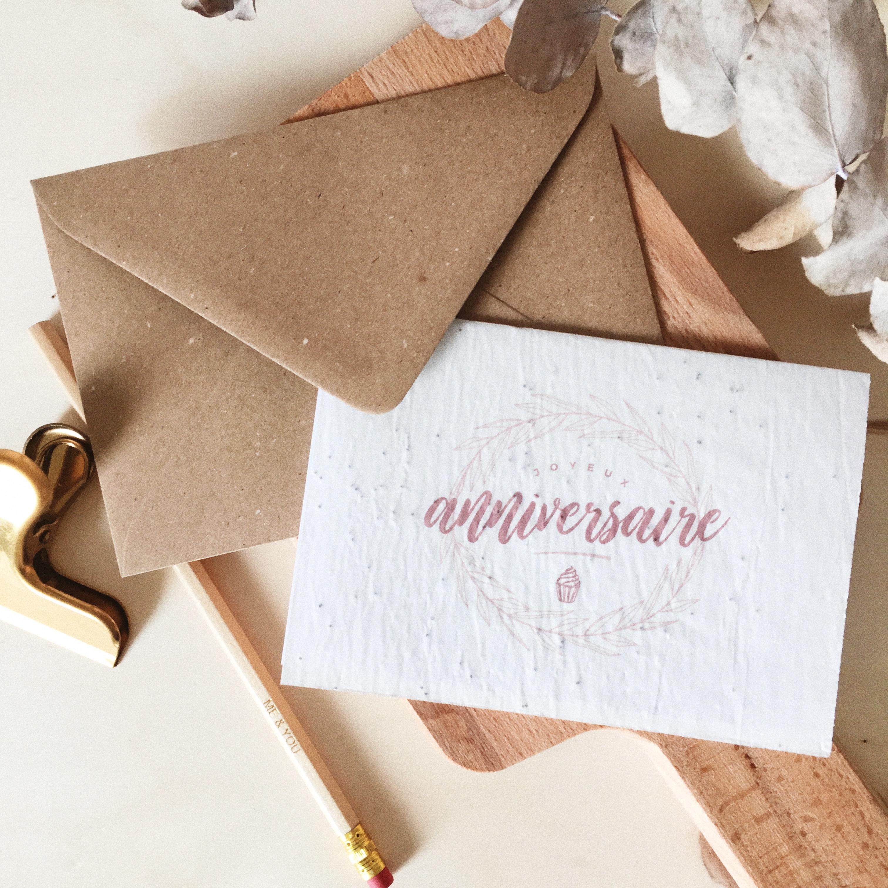 Carte Anniversaire Papier.Carte Joyeux Anniversaire Papier Ensemence